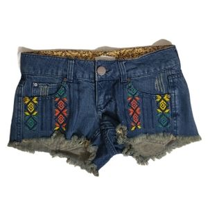 O'Neill Multicolor Tribal Print Frayed Hem Shorts